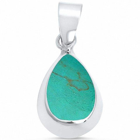 Solitaire Pear Teardrop Pendant 925 Sterling Silver Simulated Stone Choose Color