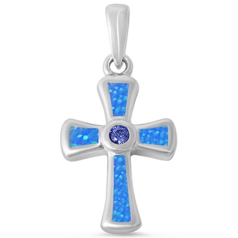 Round Tanzanite & Blue Opal Cross .925 Sterling Silver Pendant