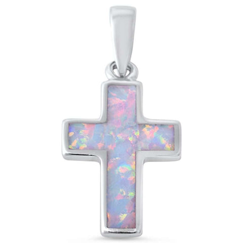 White Opal Cross .925 Sterling Silver Pendant