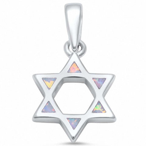 Star of David Blue Opal .925 Sterling Silver Pendant