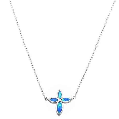 "Cross Pendant 18"" Necklace Lab Created Blue Opal 925 Sterling Silver"