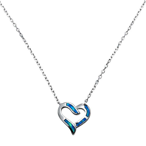 "New Design Heart Pendant 18"" Necklace Lab Created Blue Opal 925 Sterling Silver"