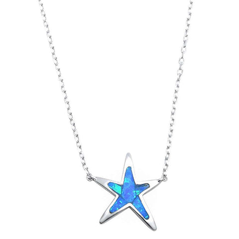 "Starfish Pendant 18"" Necklace Lab Created Blue Opal 925 Sterling Silver"