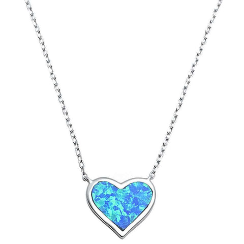 "Heart Pendant 18"" Necklace Lab Created Blue Opal 925 Sterling Silver"