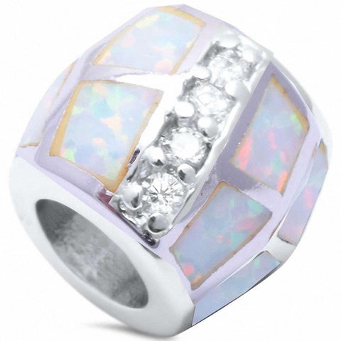 Trendy Bead Pendant Round Cubic Zirconia Created Opal 925 Sterling Silver Choose Color