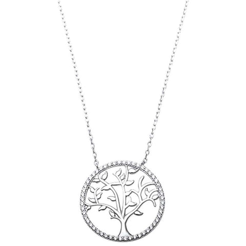 "Round Tree of Life Pendant 18"" Necklace Rose Yellow Gold Rhodium Plated 925 Sterling Silver Choose Color"