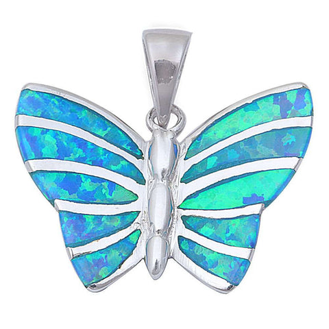 Butterfly Pendant 925 Sterling Silver Lab Created Opal Choose Color Butterfly