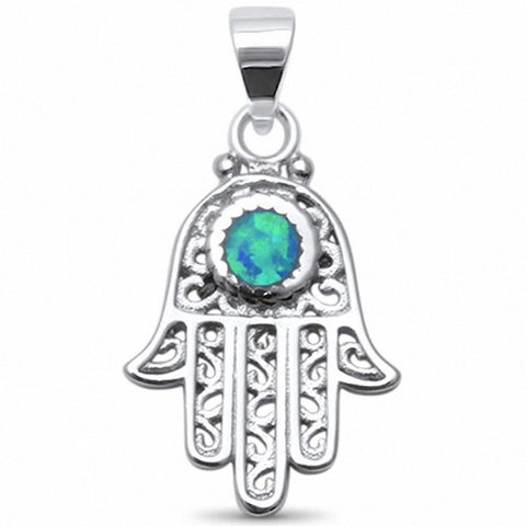 Hand of God Filigree Hamsa Hamesh Pendant Created Opal 925 Sterling Silver Choose Color