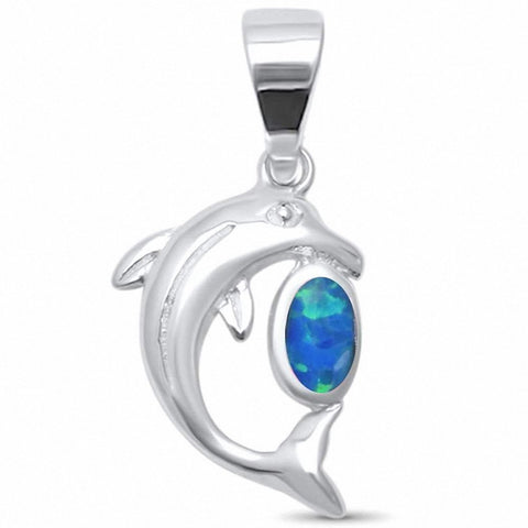 Dolphin Charm Pendant Created Opal 925 Sterling Silver Choose Color