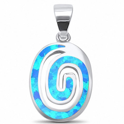 Oval Swirl Pendant Spiral 925 Sterling Silver Choose Color Created Opal