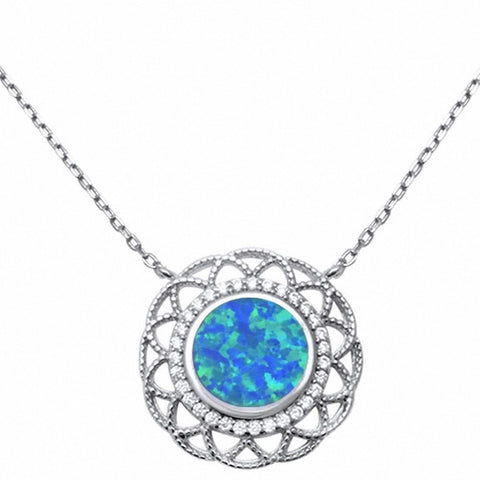 "18"" Necklace Pendant Filigree Design Created Blue Opal Round Simulated CZ 925 Sterling Silver"
