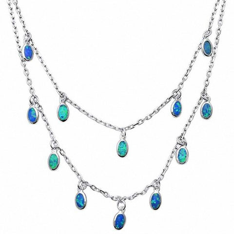 Dangling Waterfall Necklace Created Opal 925 Sterling Silver Choose Color