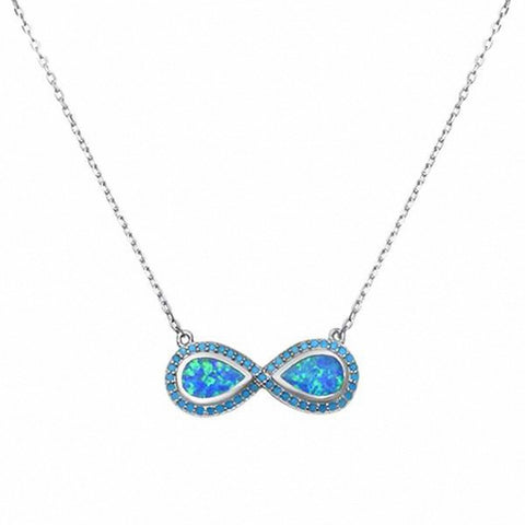 Infinity Necklace Pendant Round Simulated Turquoise Created Opal 925 Sterling Silver Choose Color