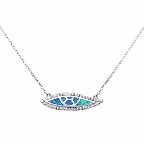 Fashion Marquise Pendant Necklace Created Opal Simulated Round CZ 925 Sterling Silver Choose Color