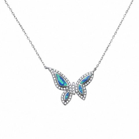 Butterfly Necklace Created Opal Simulated Round Cubic Zirconia 925 Sterling Silver Choose Color