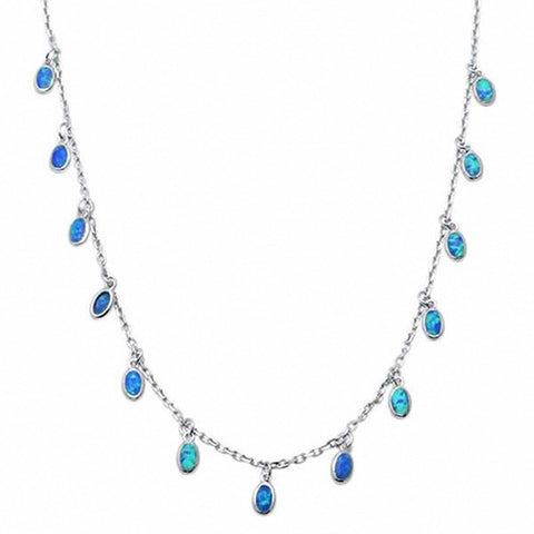 Fashion Waterfall Necklace Dangling  Created Opal 925 Sterling Silver Choose Color