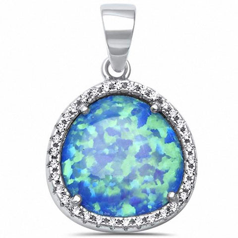 Halo Design Pendant Created Opal Round Cubic Zirconia 925 Sterling Silver Choose Color