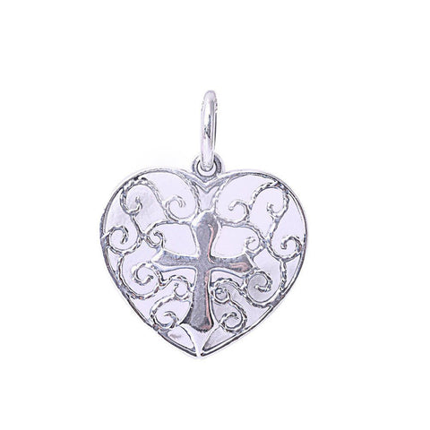 Cross Heart Filigree Swirl Pendant 925 Sterling Silver Choose Color
