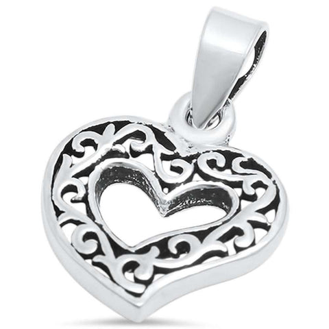 Heart Filigree Pendant 925 Sterling Silver Choose Color