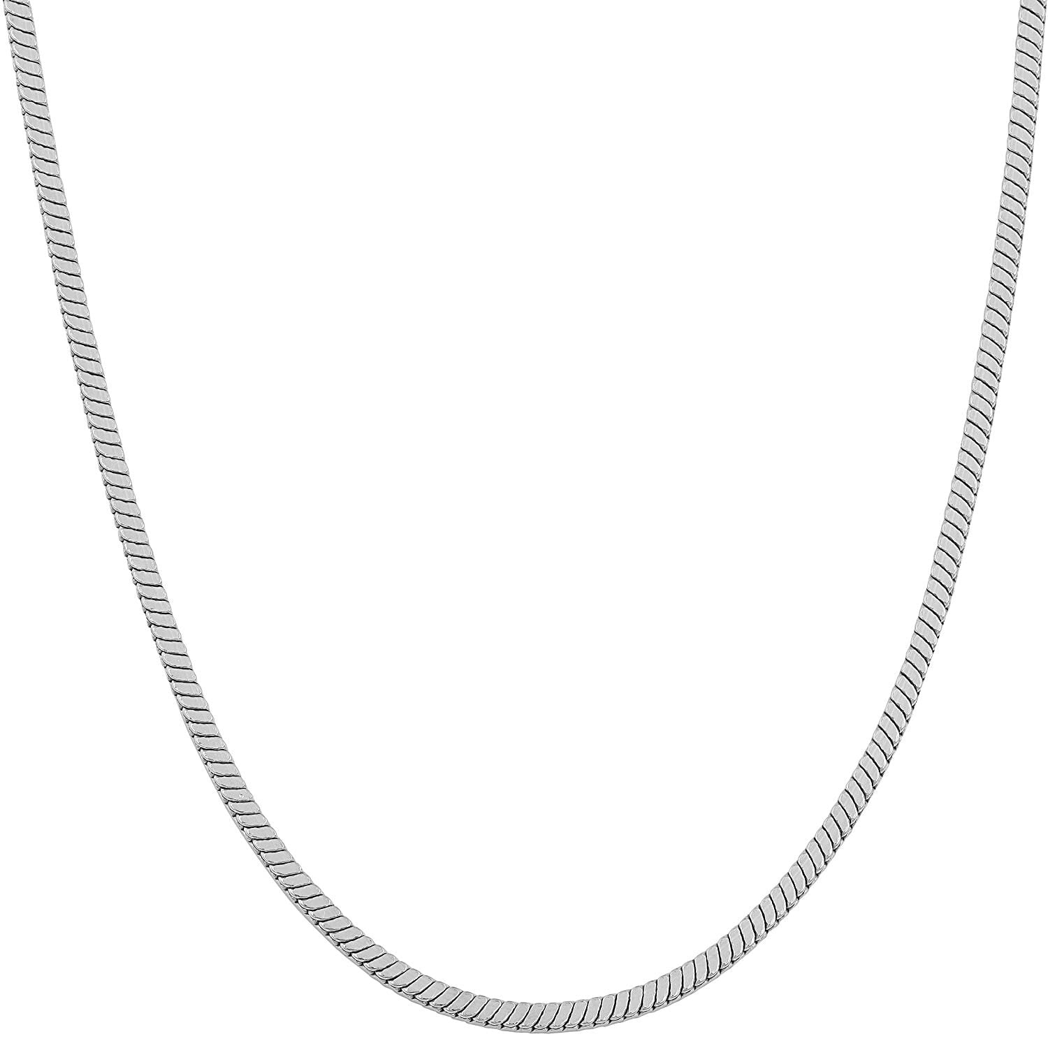 ".7MM Rhodium Plated Square Snake Chain .925 Sterling Silver ""16-22"""