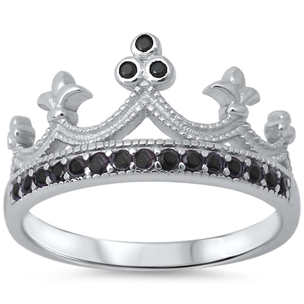 King Crown Ring Round Simulated Black CZ Half Eternity Solid 925 Sterling Silver