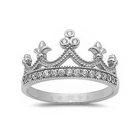 King Crown Ring Round Simulated Cubic Zirconia Half Eternity 925 Sterling Silver