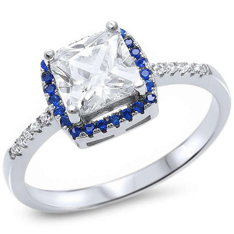 Solitaire Wedding Engagement Ring Cushion Cut Simulated Blue Sapphire & Clear CZ 925 Sterling Silver