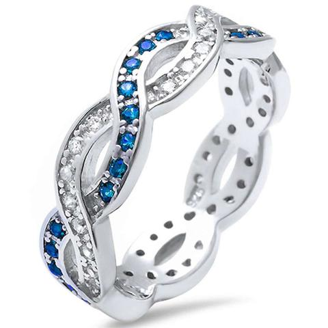 Crisscross Infinity Stackable Ring Simulated Blue Sapphire CZ 925 Sterling Silver