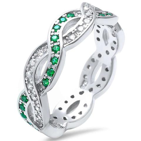 Crisscross Infinity Ring Round Simulated Green Emerald CZ 925 Sterling Silver