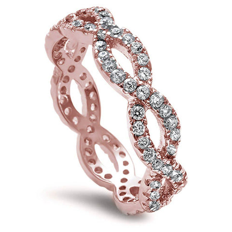 Full Eternity Infinity Wedding Engagement Ring Rose Tone Round Cubic Zirconia 925 Sterling Silver