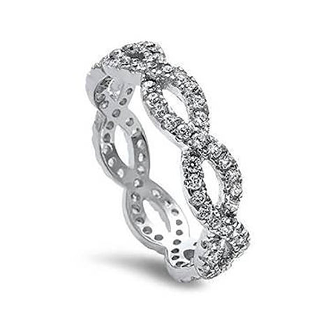 Full Eternity Infinity Wedding Engagement Ring Round Cubic Zirconia 925 Sterling Silver