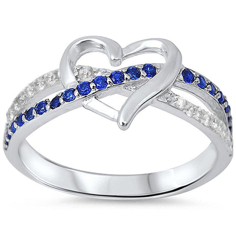 Infinity Heart Ring Round Simulated Blue Sapphire and CZ 925 Sterling Silver