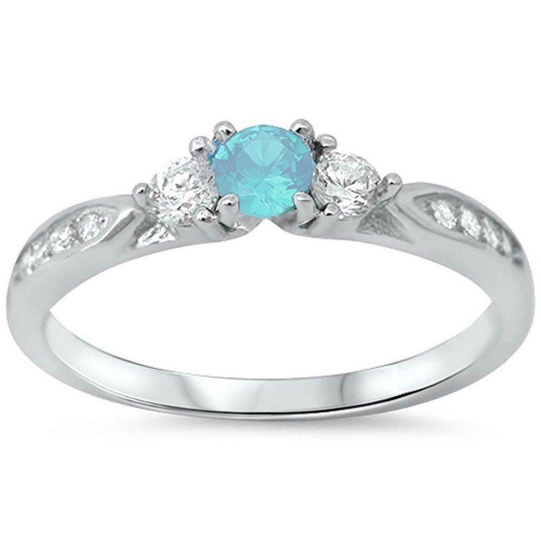 3-Stone Engagement Promise Ring Simulated Aquamarine CZ 925 Sterling Silver