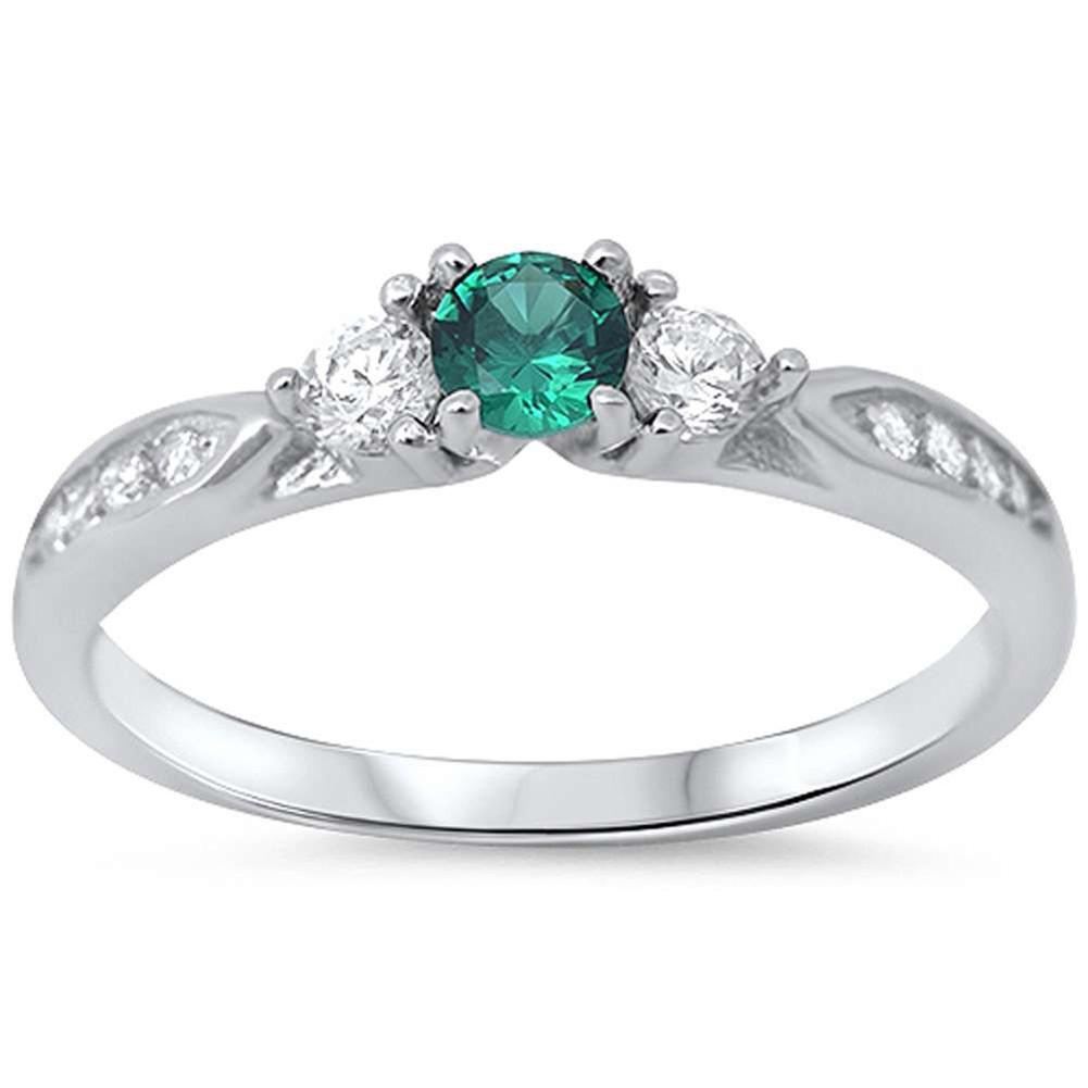 Engagement Fashion Ring Simulated Green Emerald CZ 925 Sterling Silver