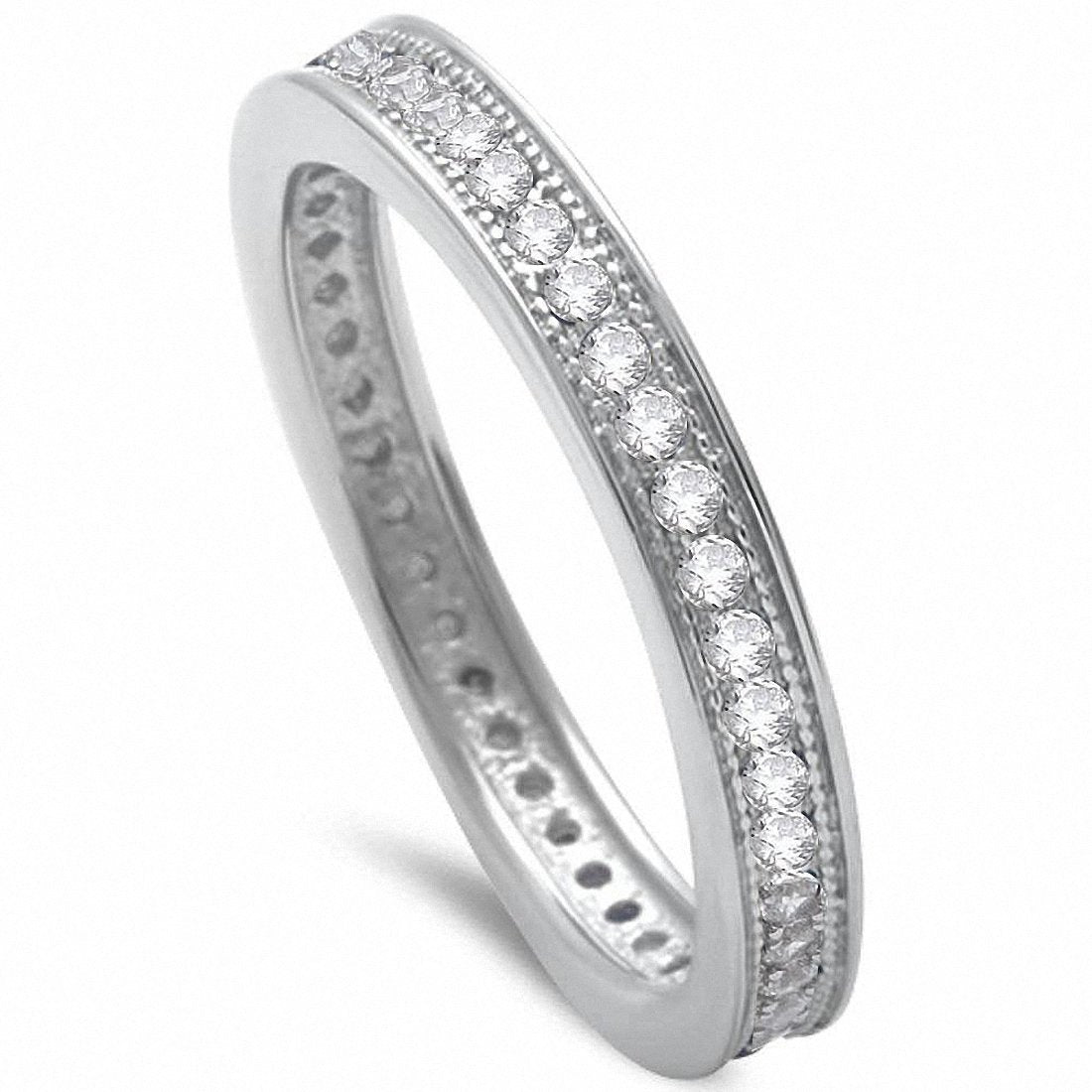 Full Eternity Stackable Ring Simulated Cubic Zirconia 925 Sterling Silver