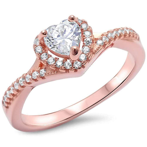 Twist Shank Halo Heart Promise Ring Rose Tone Simulated CZ 925 Sterling Silver