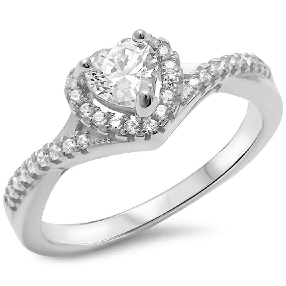 Twist Shank Halo Heart Promise Ring Simulated CZ 925 Sterling Silver
