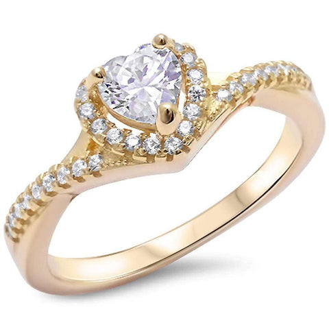 Twist Shank Halo Heart Promise Ring Yellow Tone Simulated CZ 925 Sterling Silver