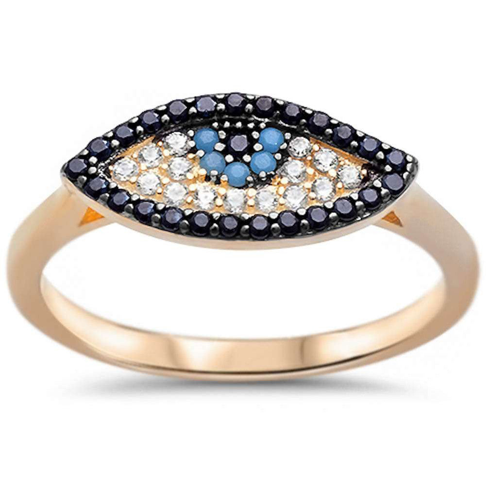e77b40eb0f4077 Evil Eye Ring 925 Sterling Silver Round Simulated Nano Turquoise CZ Yellow  Gold Rhodium Plated ...