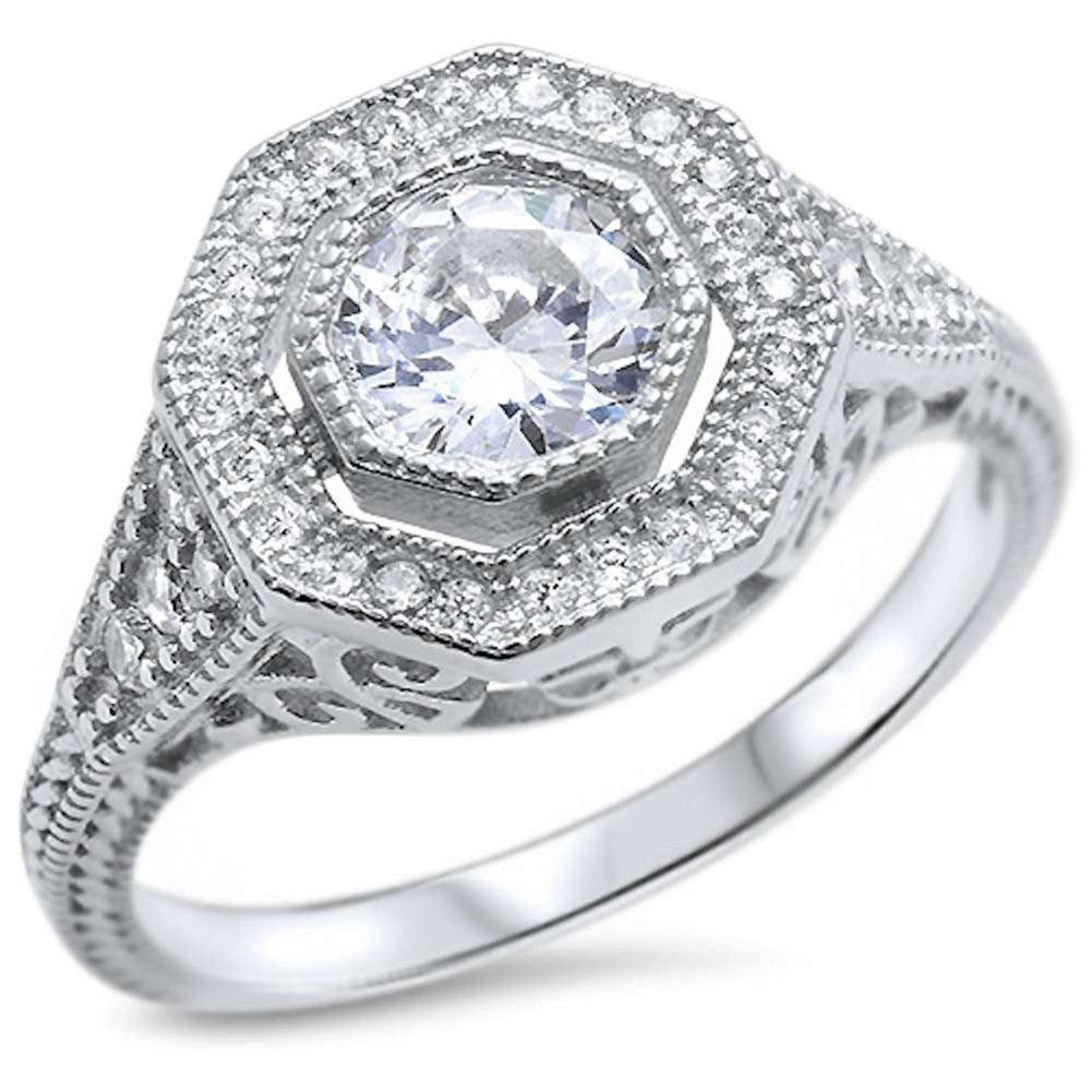 Filigree Wedding Ring Bezel Round Simulated CZ 925 Sterling Silver