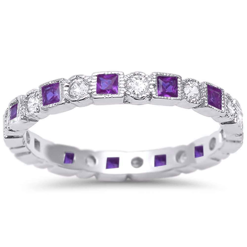 Bezel Set Full Eternity Ring Alternating Round Simulated Amethyst CZ 925 Sterling Silver