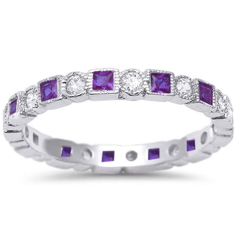 Bezel Set Full Eternity Ring Alternating Round Simulated Amethyst 925 Sterling Silver