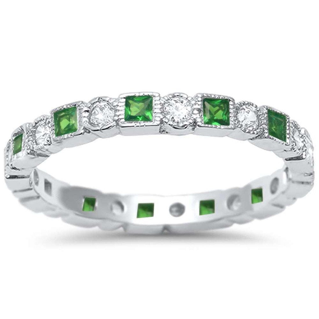 Bezel Set Full Eternity Ring Alternating Round Simulated Green Emerald CZ 925 Sterling Silver