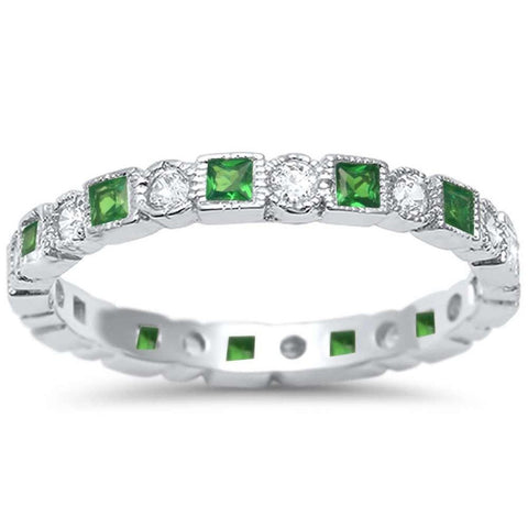 Bezel Set Full Eternity Ring Alternating Round Simulated Green Emerald 925 Sterling Silver