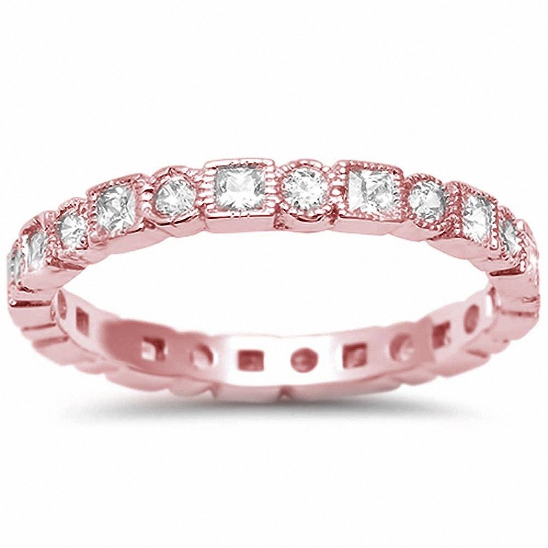 Bezel Set Full Eternity Ring Rose Tone, Simulated CZ 925 Sterling Silver