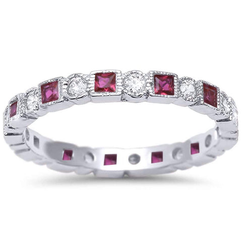 Bezel Set Full Eternity Ring Alternating Round Simulated Ruby 925 Sterling Silver