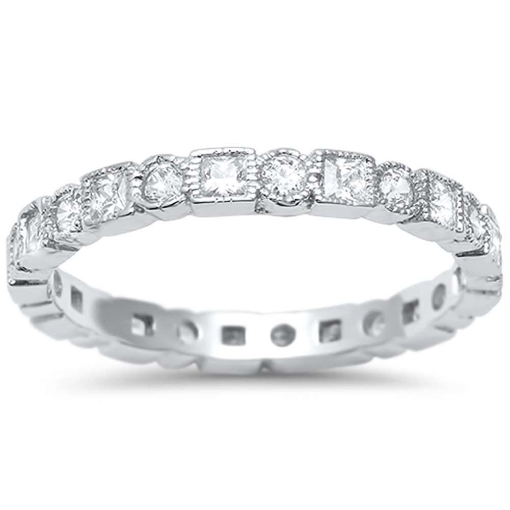 Bezel Set Full Eternity Ring Alternating Round Simulated Cubic Zirconia 925 Sterling Silver