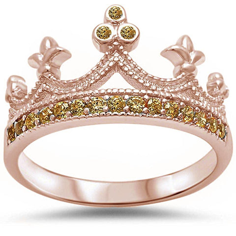 King Crown Ring Round Rose Tone Champagne Cubic Zirconia Half Eternity 925 Sterling Silver