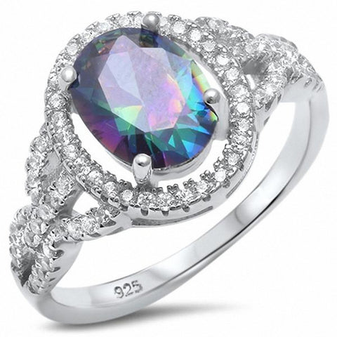 Halo Ring Oval Rainbow Cubic Zirconia 925 Sterling Silver Choose Color