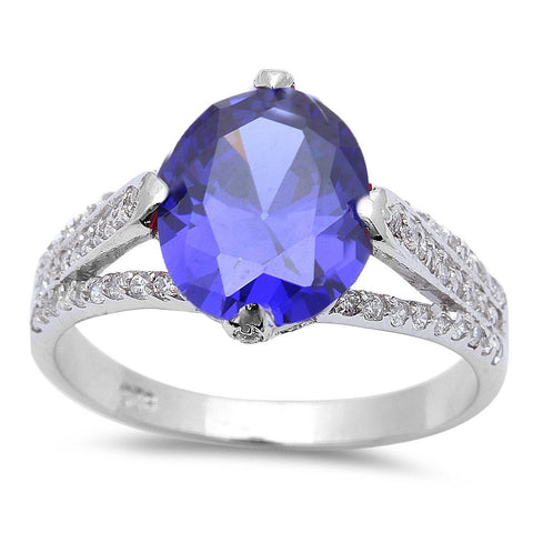 .925 Sterling Silver 4ct Oval Cut Tanzanite & Cz Fashion Ring Sizes 5-10